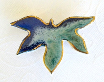 Maple Leaf Brooch. Aqua & Sapphire Blue. Porcelain Clay. 22K Gold Edge. Jade Green. Mint Green. Royal Blue. Ceramic. Fall Jewelry. Statement