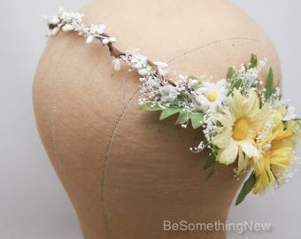 Yellow Daisy Flower Crown with Leaves and Babies Breath Wedding Hair Yellow and White Floral Halo Boho Wedding Bridesmaid or Flower Girl