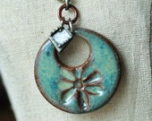 Soft Watercolor Effect Ceramic Pendant Flower in Caribbean Green glaze, ceramic jewelry, stoneware clay