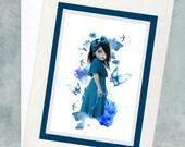 Art Greeting Card - Blank Notecard - Blue Flowers & Blue Butterflies - Bluebell