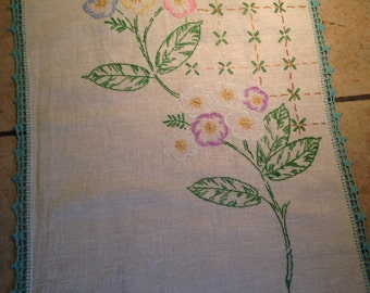 Pink, Lilac, Blue, Yellow, and Aqua Flower Hand-Embroidered Dresser Scarf With Crocheted Edge