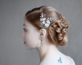 Silver Flower Comb, Wedding silver pearl flower wire hair comb, Cherry Blossoms Flower hair piece with crystals, Boho wedding hairpiece