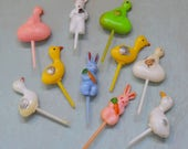 10 Vintage Easter Cake Picks Rabbits Chicks Ducks Hard Plastic