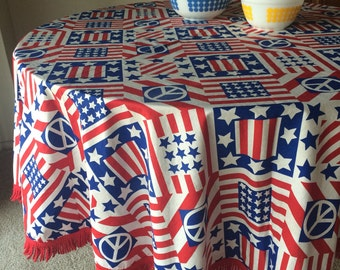 Vintage America Tablecloth Flag, Stars & Stripes, Peace Sign 60's 70's Love, Woodstock, Hippie Fabric Home Decor