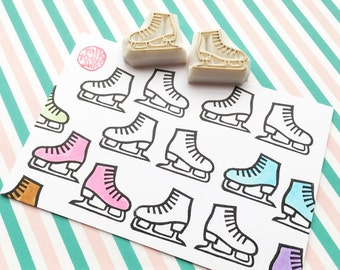 ice skate shoes rubber stamps. ice skating stamp. ice skater hand carved stamp. christmas card making. diy sports event invites. set of 2