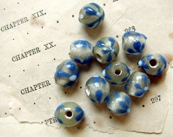 vintage lampwork beads - sea green clear and blue flowers - rustic large hole beads - 11 beads