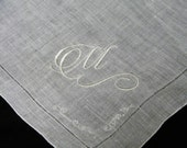 "Vintage White on White Monogrammed Monogram ""M""  Ladies Brides Wedding Handkerchief - 9785"