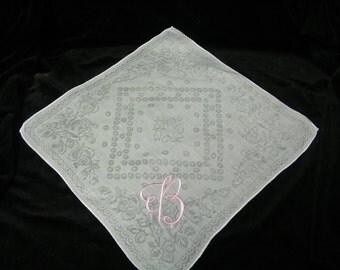 "Vintage Pink on White Monogrammed Monogram ""B""  Ladies Brides Wedding Handkerchief - 9786"