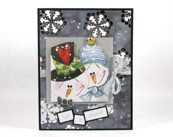 Merry Christmas cards, snowmen cards, snowman cards, cute Christmas cards, let it snow, holiday cards, winter cards, snowflakes