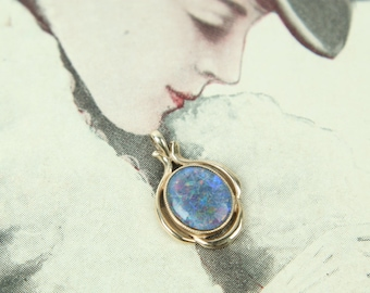 vintage black opal 10k gold oval pendant antique necklace jewelry art nouveau revival circa 1960s