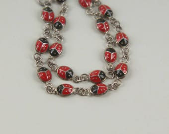 sterling silver + enamel bracelet anklet red black lady bug vintage 925 9.5 inches