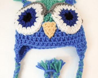 Newborn Owl Hat, Little Hoot, Jade and Blues, Ready to Ship
