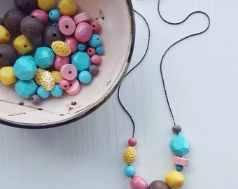 dainty necklace - remixed vintage beads - lucite - yellow pink aqua - small necklace