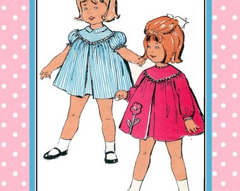 Vintage 1960s-DARLING SMOCK DRESS-Sewing Pattern-Two Styles-Applique Flower-Shaped Yoke- Inverted Pleat-Loose Fit-Sleeve Options-Size 1-Rare