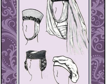 ELEGANT HISTORICAL HATS-Costume Sewing Pattern-Four Styles-Medieval-Renaissance-Ribbon-Faux Jewel Trimmings-Uncut-All Sizes-Rare