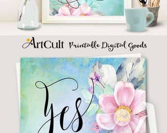 """Printable artwork """"YES YOU CAN"""" instant digital download inspirational quote home wall art decor print-it-yourself ArtCult Printable goods"""