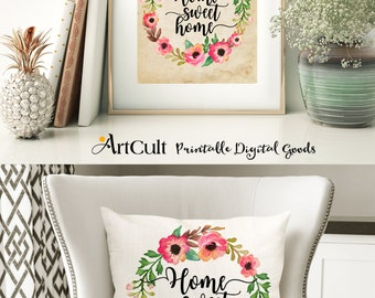 Printable download HOME SWEET HOME Two Images Digital Sheets to print on fabric / paper, Iron On Transfer for tote bags t-shirts pillows