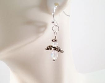 Angel Earrings,  Crystals and Silver Angel Wing Earrings, Gifts, Dainty Earrings, Angel Wing Jewelry,