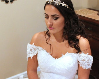 Gold Bridal headband, Gold Bridal tiara, Gold Wedding headpiece, Vintage style headpiece, Swarovski crystal headpiece, Greecian style
