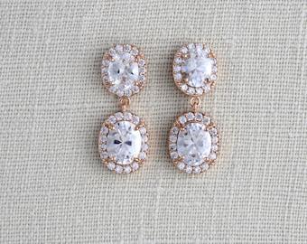 Rose Gold Bridal earrings, Crystal Wedding earrings, Wedding jewelry, Oval crystal earrings, Stud earrings, Bridesmaid earrings Crystal drop