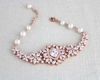 Crystal Bridal bracelet, Rose Gold bracelet, Wedding jewelry, Pearl Wedding bracelet, Rose Gold, Swarovski bracelet, Vintage style, SOPHIA