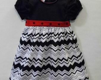 Black twill, polka dot, chevron stripe, girls dress