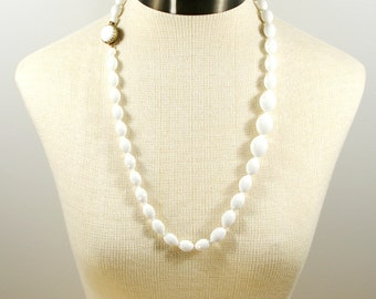 Vintage Bead Necklace, Opera Length White Faceted Bead Necklace, Single Strand Cabochon Clasp 29 inch Long Necklace