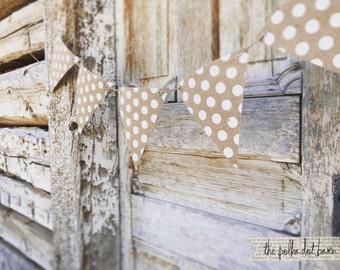 Polka Dot Burlap Banner - Polka Dot Banner - Burlap Banner - Farmhouse banner - Wedding Burlap banner - Burlap Party Decor - White Polka Dot
