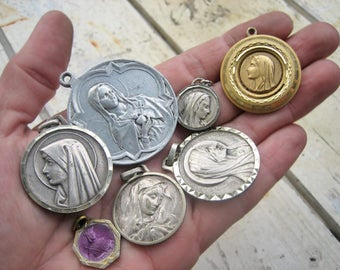 Antique holy mary lot, large holy mary lot, antique saints medal lot, French medal lot, large holy medals, large saints medals