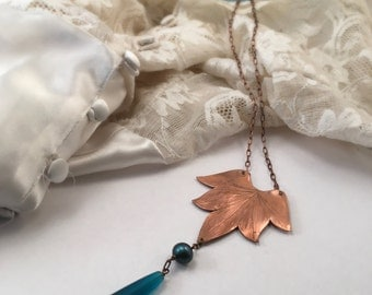 Lotus Blossom Necklace with Swarovski crystal and Sea Glass Drop  - Copper, Bronze or Sterling