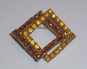 Vintage Brooch - with Topaz Colored Stones