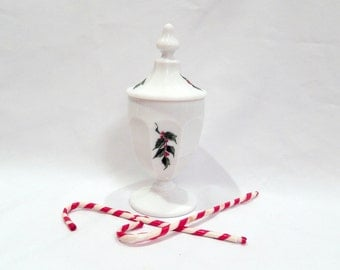 vintage Westmoreland candy dish, Colonial, milk glass, holly, candy dish with lid, Christmas home decor