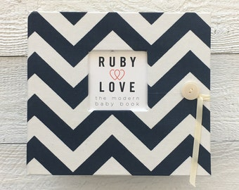 Navy Chevron Stripe | BABY BOOK