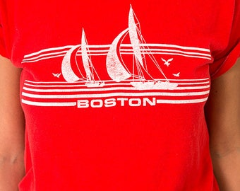 The Vintage 50/50 Boston Massachusetts Red Tee Tshirt