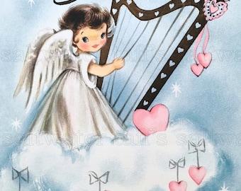 Sweet Angel Pink Hearts Image Digital Download vintage holiday xmas christmas card valentine card harp angel wings cloud halo adorable pink