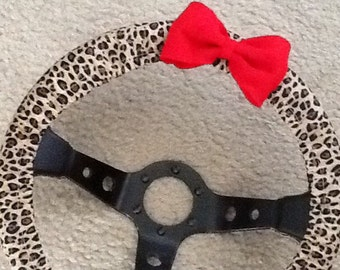 Cheetah leopard print fabric steering wheel cover with bow