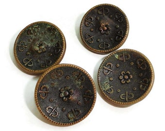 Antique Victorian Metal Buttons - 4 Vintage 1800s Gold Metal 5/8 inch 15mm for Steampunk Costumes Jewelry Beads Sewing Knitting