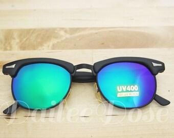 VINTAGE | Sunglasses / Clubmaster Frames / Vintage Reflective Sunglasses / Deadstock Plastic Sunglasses SG1255