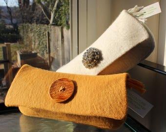 Marigold/Gold Yellow Clutch Wool Felt Handknit Versatile Clean Neat Bridal Free Shipping