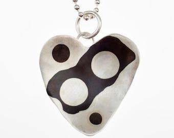 Shakudo Silver Abstract Heart