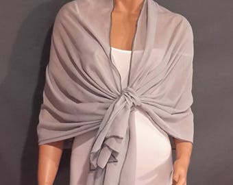 Chiffon pull thru wrap wedding shawl scarf sheer cover up long evening shrug prom stole bridal CW201 AVL in silver gray and 6 other colors