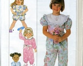 Vintage 80s Simplicity 9466 UNCUT Toddler Jumpsuit/Romper with Optional Peplum Sewing Pattern Size 3-6