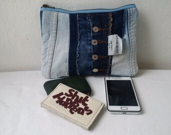 denim pouch, recycled denim, denim purse,levis, fcuk, pepe,denim pencil case, jeans, upcycled,make up pouch,denim zipper pouch,manbag