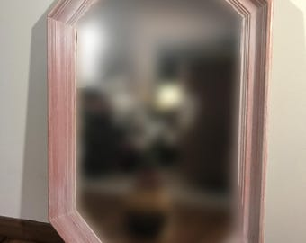 Octagonal Mirror Cream Cycle Orange Oak  28 by 18