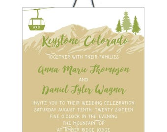 Mountain Top Lift Ticket Colorado Wedding Invitation or Save the Date