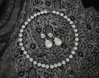 Swarovski White Opal Rhinestone  Wedding Necklace and Earring Set, Anna Wintour Inspired, Big Stones Necklace Wedding Necklace