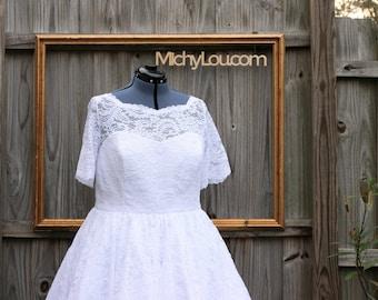 lace wedding dress - custom made clothing - White lace - wedding dress - vintage reproduction dress - 1950s retro dress