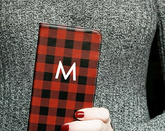 Personalized Phone Wallet Case Buffalo Plaid iPhone 7 Plus Wallet Monogram Faux Leather Wallet iPhone 6S Gifts for Her