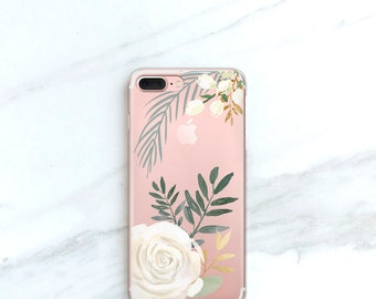 White Rose Clear iPhone 7 Plus Case Clear Floral Watercolor Roses iPhone 7 Case Floral iPhone 6S, Plus, SE, 5S, 5, Clear Gift for Her, Women
