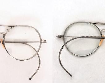 Round Goggles Antique Spectacles Double Bridge Aviator Glasses John Lennon Eyeglass Frame Steampunk Optical Metal WWII Pilot Safety